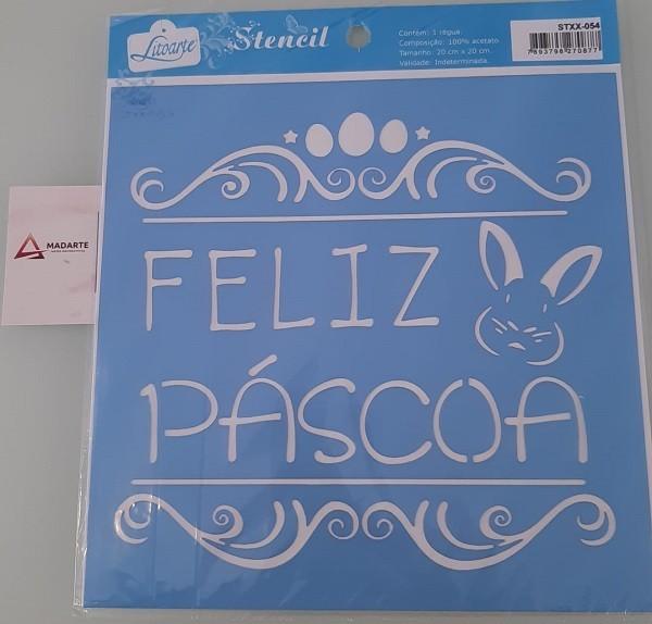 STENCIL| FELIZ PÁSCOA 20X20CM